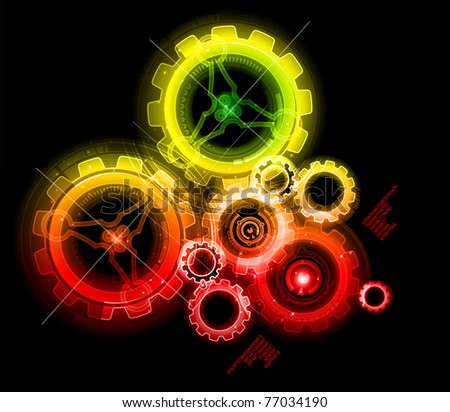 Glowing techno gears - stock vector