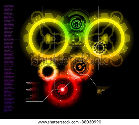 Glowing Techno Gears bright detailed vector - stock vector