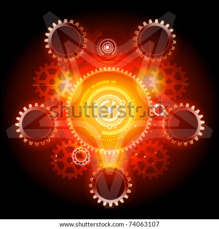 Glowing Techno Pentagram with gears detailed vector - stock vector
