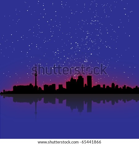 Glowing Toronto skyline with the actual star pattern from Christmas eve 2010 (eps10 vector) - stock vector