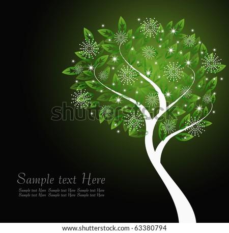 glowing winter tree template - stock vector