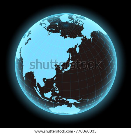 glowing world map vector illustration globe sphere focus on japan and east