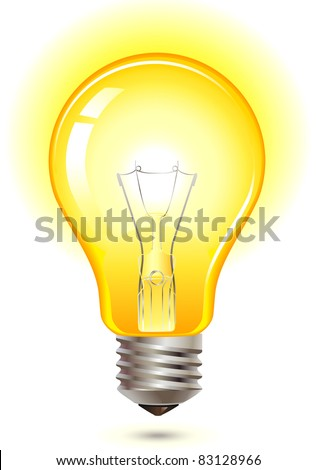 glowing yellow light bulb as inspiration concept - stock vector