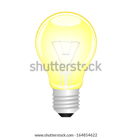 Glowing yellow light bulb, vector  - stock vector
