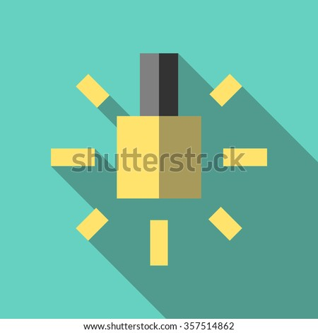 Glowing yellow lightbulb icon. Inspiration, insight, invention, idea, innovation, hint and advice concept. Flat style. EPS 8 vector illustration, no transparency - stock vector