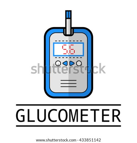 Glucometer, test strip. Label, flat icon, medical equipment. Diabetes - stock vector