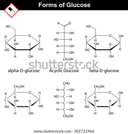 Glucose molecules. Structural chemical formulas of cyclic and acyclic forms, 2d vector, isolated on white background, eps 8 - stock vector