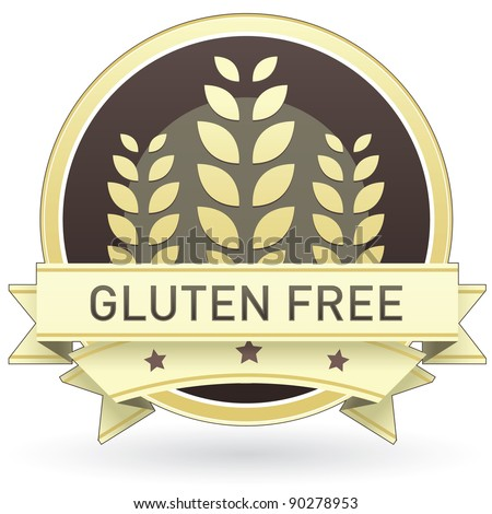 Gluten free food label, badge or seal with brown and tan color and wheat or grain emblem in vector style