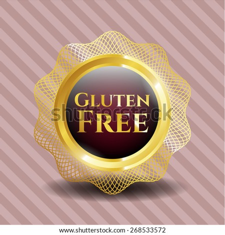 Gluten Free gold badge - stock vector