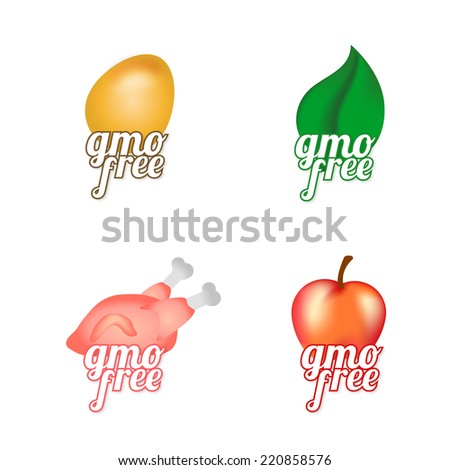 GM icons. Genetically modified food, healthy food, etc. - stock vector
