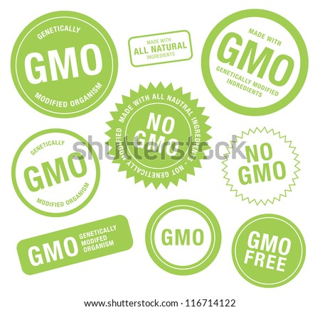 GMO Food Labels - stock vector