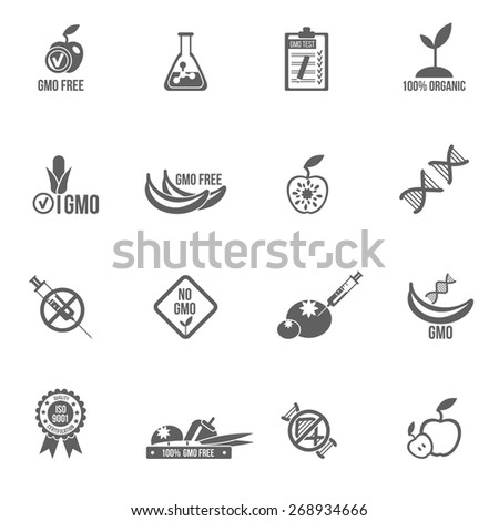 Gmo icons black set with healthy agriculture genetic danger symbols isolated vector illustration - stock vector
