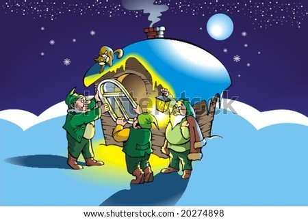 Gnomes mount new window in their hut, vector illustration