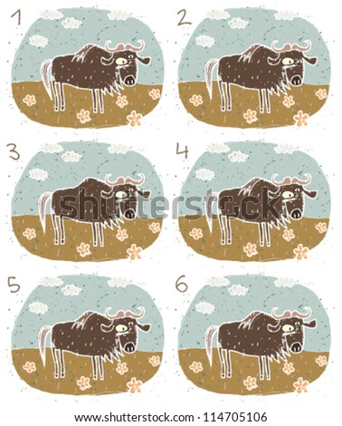 Gnu Puzzle ... Task: Find two images that are alike! (match pairs); Answer: No. 4 and 5. - stock vector