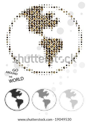 go around the world - stock vector