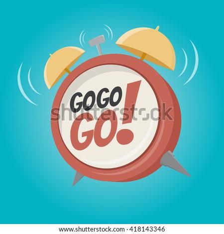 go go go alarm clock in retro cartoon style - stock vector