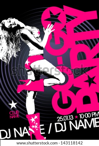 Go-go party design template with fashion girl and place for text. - stock vector