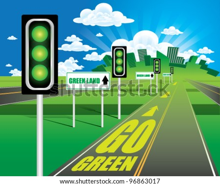 GO GREEN - stock vector