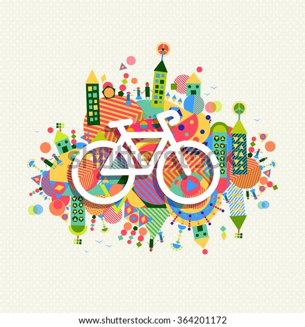 Go green bike concept poster design. Vibrant colors geometric eco environment shapes with bicycle outline icon illustration. EPS10 vector. - stock vector