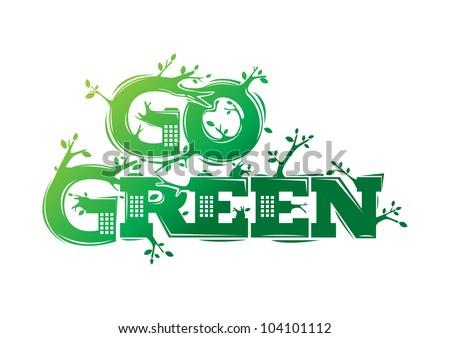 Go Green campaign poster - stock vector