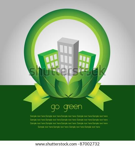 go green city environment - stock vector
