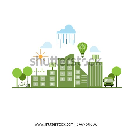 Go green city. Industry sustainable development with environmental conservation background illustration. Vector file layered for easy manipulation and custom coloring. - stock vector