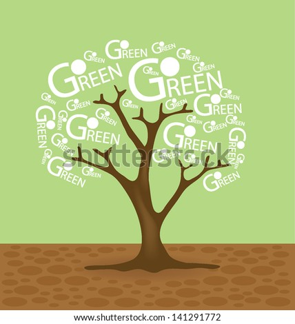Go green concept. Creative. Tree vector illustration.