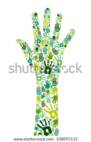 Go green concept: human hands icons composition isolated over white background. Vector file layered for easy manipulation and custom coloring - stock vector