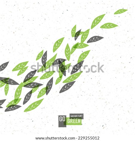 Go Green Concept Poster With Leaves. Vector - stock vector