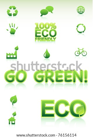Go Green Concept. Vector Icons - stock vector