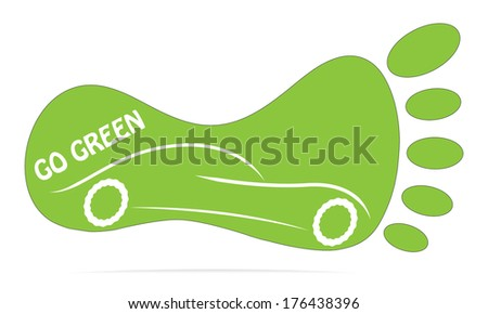 Go green concept vector with foot mark and car. - stock vector