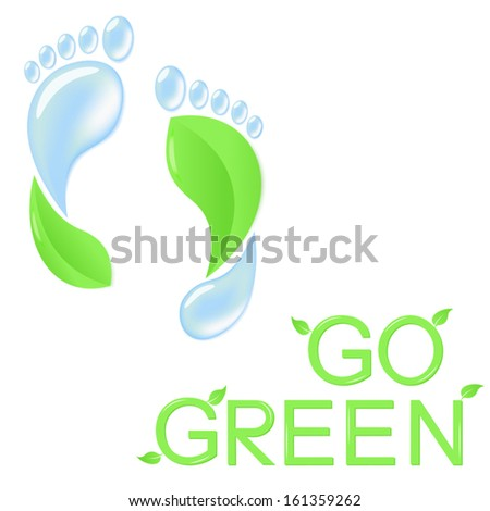 Go green concept with human footprints of leaves and pure water - stock vector