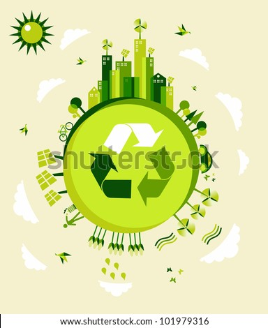Go green Earth globe background illustration. Global sustainable development with environmental conservation. Vector file layered for easy manipulation and custom coloring. - stock vector