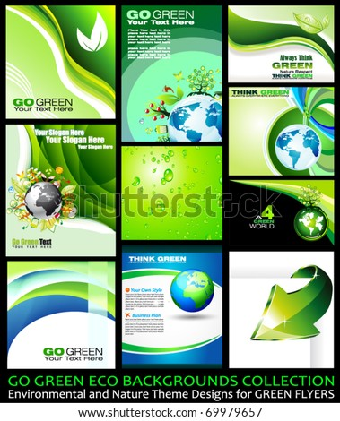 Go Green Eco Backgrounds Collection - 9 different Environmental Illustrations - stock vector