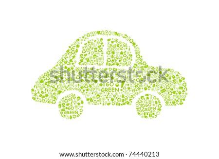 go green eco pattern car on white backdrop - bulb, leaf, globe, drop, apple, house, trash. Ecology concept. - stock vector
