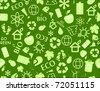 go green eco seamless pattern on dark green backdrop - bulb, leaf, globe, drop, apple, house, trash, arrow - stock vector