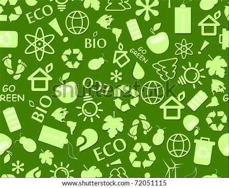 go green eco seamless pattern on dark green backdrop - bulb, leaf, globe, drop, apple, house, trash, arrow - stock vector