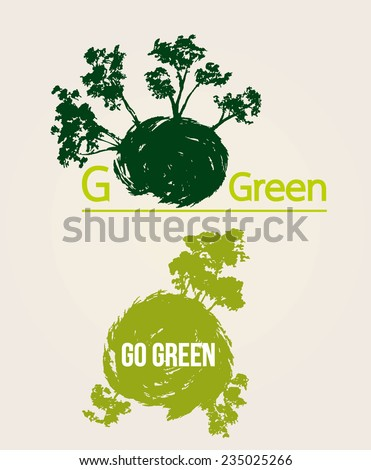 Go Green Eco Tree Recycling Concept Paper Background - stock vector