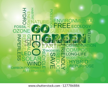 Go Green Eco Word Cloud Illustration Isolated on Green Bokeh Background Vector - stock vector