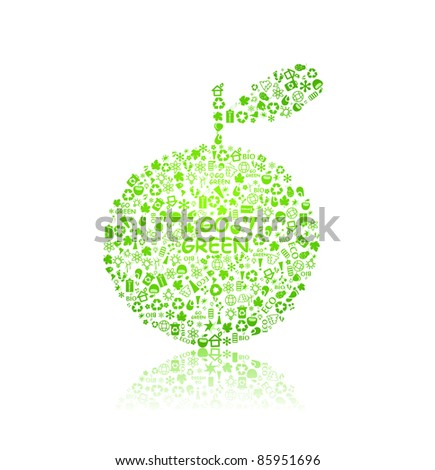 go green ecological pattern apple on white backdrop - bulb, leaf, globe, drop, apple, house, trash. Ecology concept in vector illustration. - stock vector