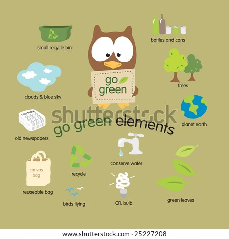 Go Green Elements Vector Set - stock vector