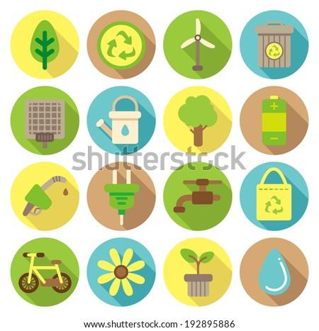 go green flat icon - stock vector