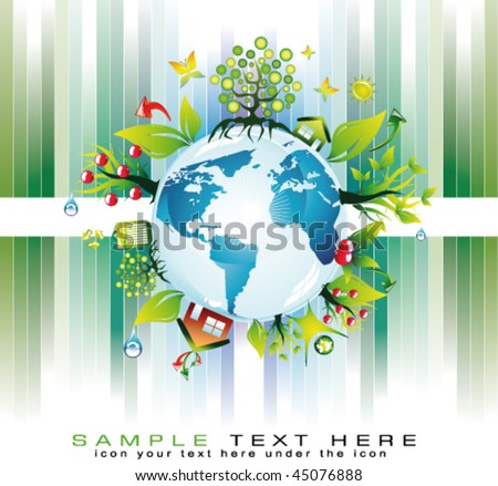 Go Green Global Nature Safety Background for  Eco Flyers Project - stock vector