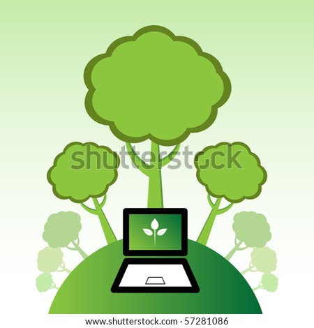 Go Green IT for a greener environment. - stock vector