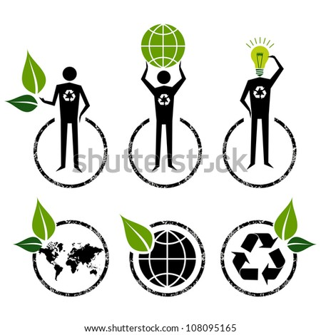 Go Green people symbol ideas. Vector file layered for easy manipulation and custom coloring.