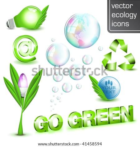Go Green - Shiny 3D ecology elements - stock vector
