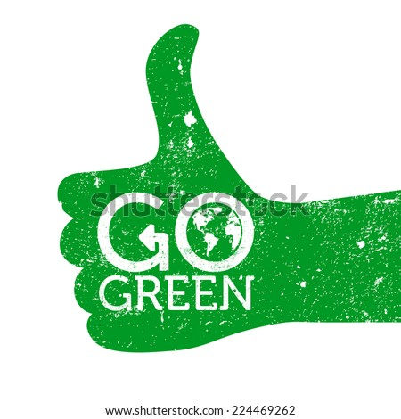 Green Thumb Logo go Green Thumbs up Grunge