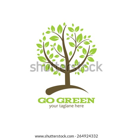 Go green tree logo or symbol. Ecology and nature. Vector illustration - stock vector