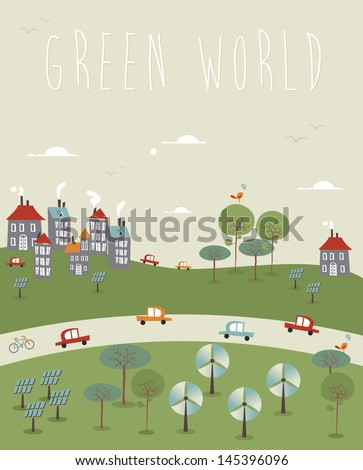 Go green world infographics trendy sketch. Vector illustration layered for easy manipulation and custom coloring. - stock vector
