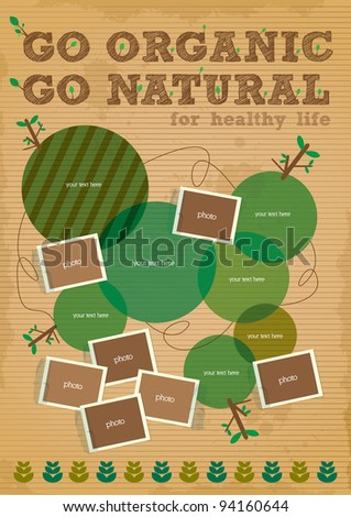 go organic and go natural poster design - stock vector